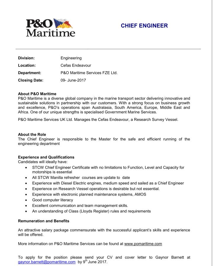 Job Opportunity Chief Engineer With PO Maritime Services Fze Ltd