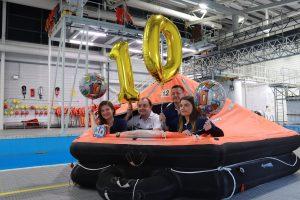 GTSS team members in a life raft